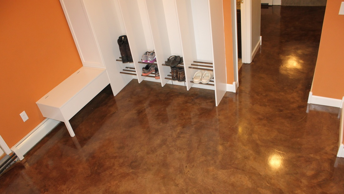 Ham Lake Andover Blaine Forest Concrete Overlay Floor Stained