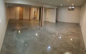 Basement Floor, microtopping, acid stain, overlay, resurfacing